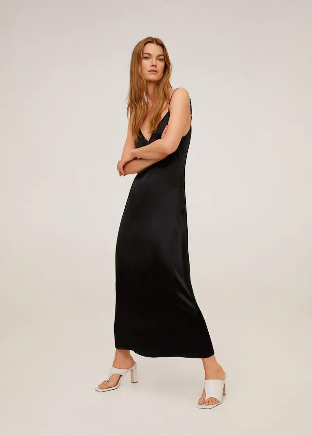 Vestido satinado negro mango