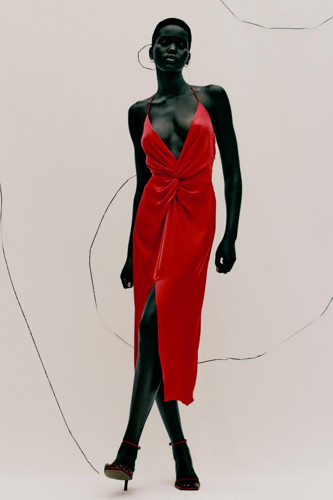 Vestido verano satinado rojo ZARA