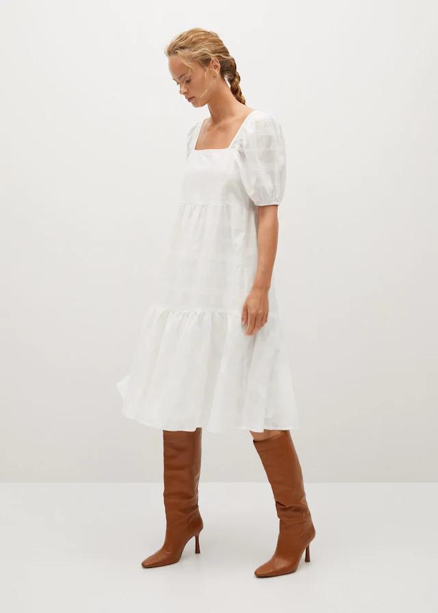 vestido largo blanco de algodón mango
