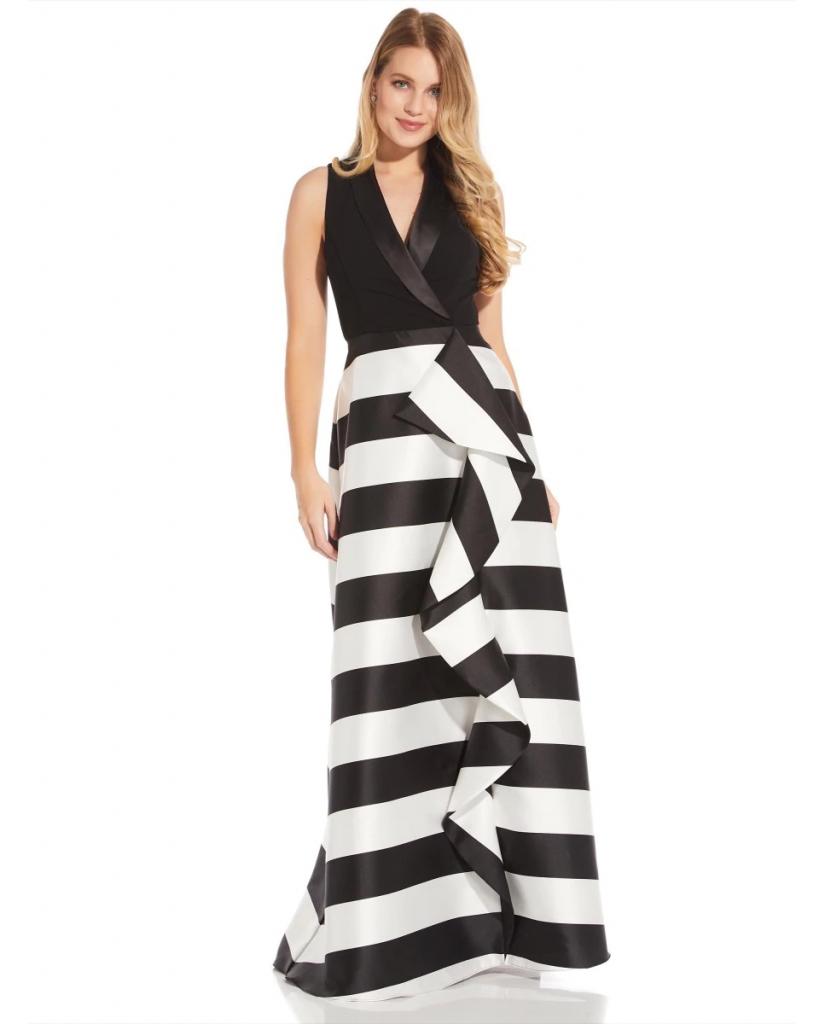 vestido estampado rayas y negro adrianna panell