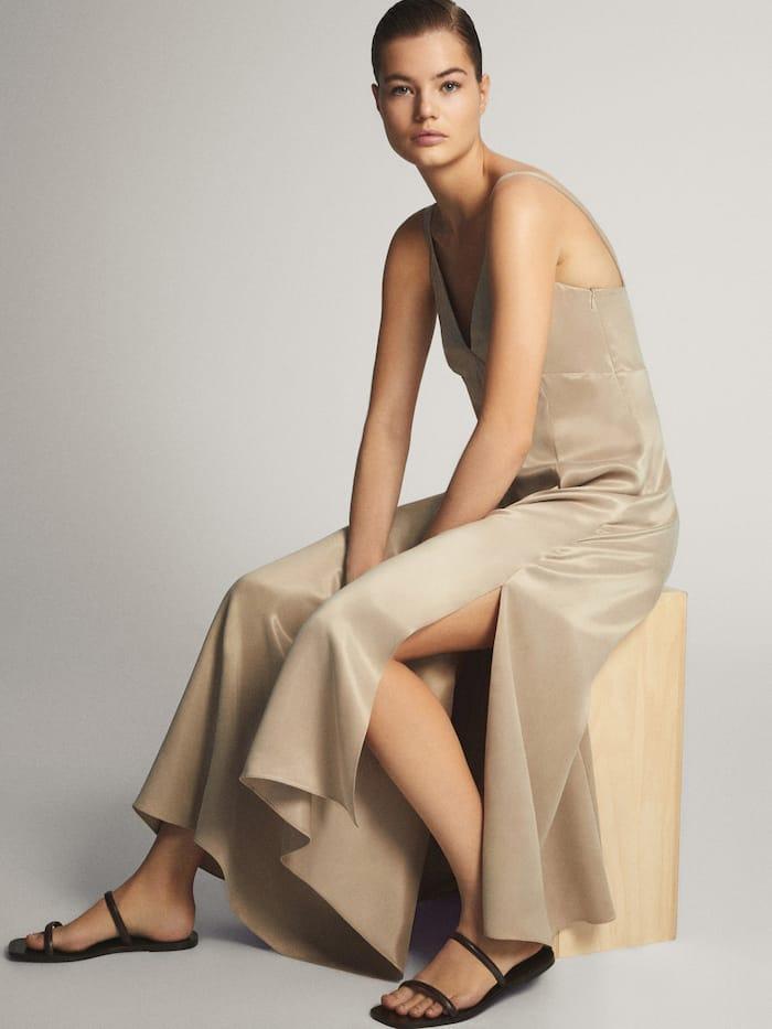 vestido lencero color piedra massimodutti