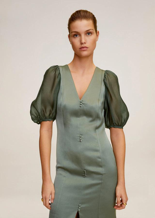 vestido largo mango verde manga abullonada