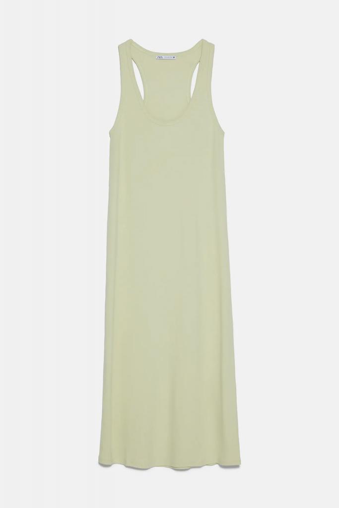 vestido verde ecológico zara