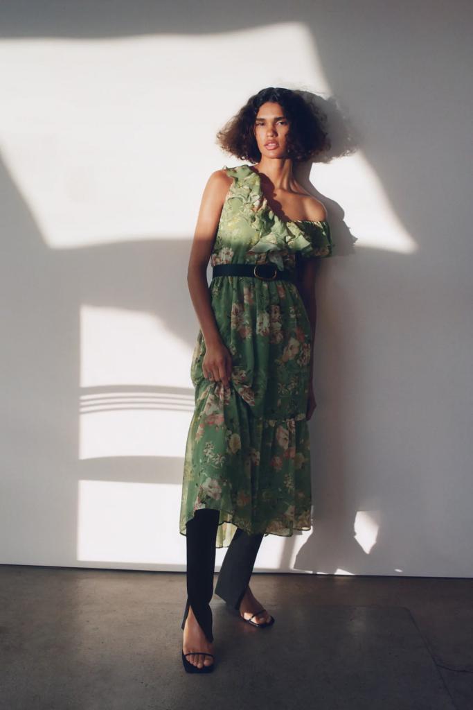 vestido largo verde flores zara
